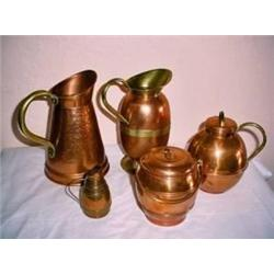 COLLECTION OF ENGLISH COPPERWARE INCLUDING OPEN T