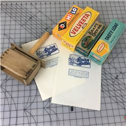 VINTAGE BUTTER LOT (PRESS, PAPERS, BOXES)
