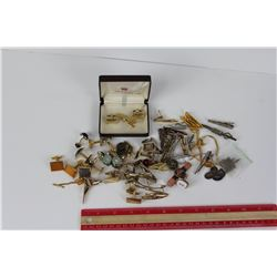 LARGE LOT OF TIE CLIPS & CUFF LINKS (VINTAGE)