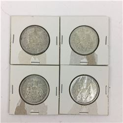 LOT OF 4 CANADIAN 50 CENT PIECES (SILVER) *1966*