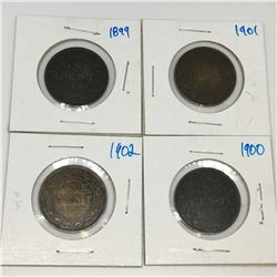 LOT OF 4 CANADIAN LARGE PENNIES (1899 1900 1901 1902)