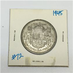 50 CENT PIECE (CANADIAN) *1945-SILVER*