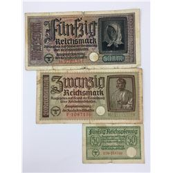 LOT OF 3 NAZI GERMAN BANK NOTES