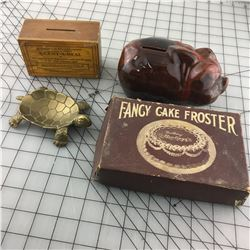 MISC LOT (BRASS TURTLE DISH, MISSIONARY DONATION BOX, PIGGY BANK) *CAKE FROSTER *