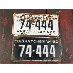 LOT OF 2 LICENSE PLATES (SASK. SAME NUMBER) *# 74-444 YEARS 59-60*