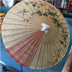 BAMBOO PAPER PARASOL UMBRELLA WITH SLEEVE (VINTAGE ADVERTISING)