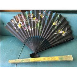 LARGE PAPER FAN (WITH BOX) *VINTAGE*