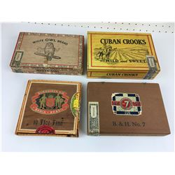 LOT OF 4 CIGAR BOXES (WHITE OWL, CUBAN CROOKS, BH NUMBER 7, ETC...)