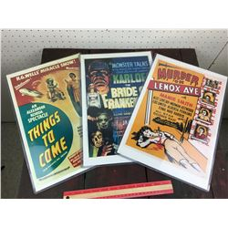 LOT OF 3 MOVIE POSTERS (REPRODUCTION)