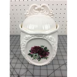CERAMIC COOKIE JAR (ROSE PICTURED)