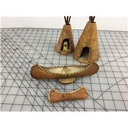TEPEE AND CANOE PIECES (BIRCH BARK)