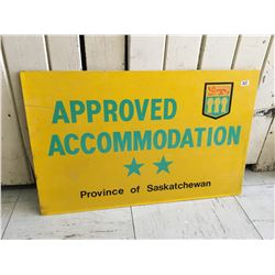 "DOUBLE SIDED PROVINCE OF SASK. 2 STAR ACCOMMODATION SIGN (22"" X 14"")"