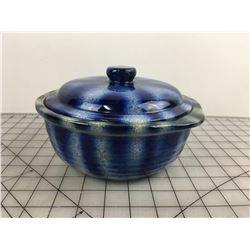 BLUE BEAN POT WITH LID (MEDALTA POTTERIES)