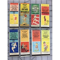 LOT OF 8 PIN UP GIRL ADVERTISING MATCH BOOK COVERS (VINTAGE)
