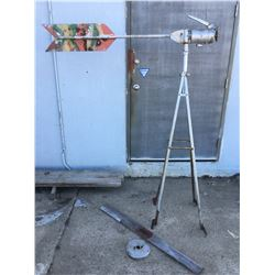 "FARM WIND GENERATOR, STAND & PROP (ANTIQUE) * STANDS 75"" T, 60"" L, BLADE 48"" L *"