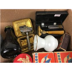 MISC LOT  (SAFETY RAZORS, MANTLES, EDDY MATCH BOXES)