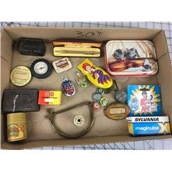 MISC LOT (TIN TOY, SMALL TINS, LAPEL BUTTONS ETC…)