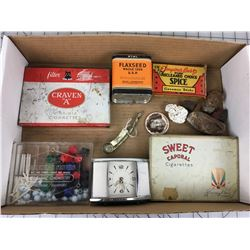MISC LOT (SHIRLEY TEMPLE PIN, CIGARETTE TINS, CLOCK, ETC…)