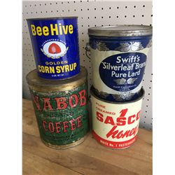 LOT OF 4 TINS (NABOB BEE HIVE SWIFTS HONEY)
