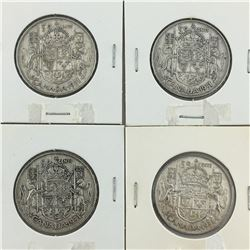 LOT OF 4-50 CENT PIECES (CANADIAN) * SILVER 1951*