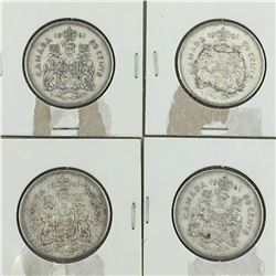 LOT OF 4 - 50 CENT PIECES (CANADIAN)  * SILVER 1961 *