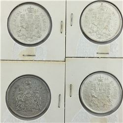 LOT OF 4 -50 CENT PIECES (CANADIAN)  * SILVER 1966  *