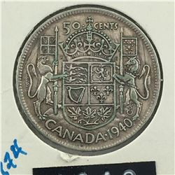 1940 CNDN 50 CENT PC * SILVER *