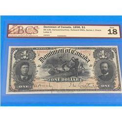 1898 DOMINION OF CANADA $1 BANK NOTE (GRADED F-18)