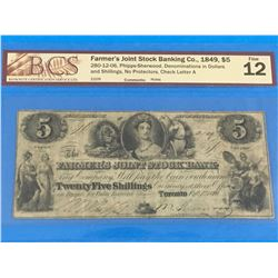 1849 FARMER'S JOINT STOCK BANKING CO. $5 BANK NOTE (GRADED F-12)