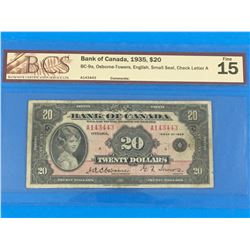 1935 BANK OF CANADA $20 BANK NOTE (GRADED VG-15)