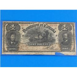 1898 DOMINION OF CANADA $1 BANK NOTE