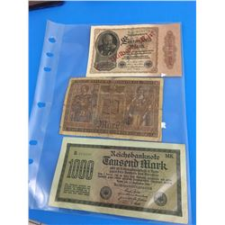 GERMAN BANK NOTES (LOT OF 3)