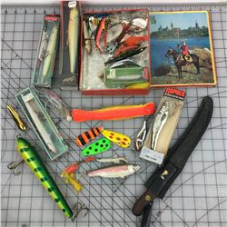 LOT OF FISHING LURES ETC. * SOME VINTAGE * & MOUNTIE TIN