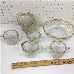 BOWL SET (CLEAR GOLD RIM) W/CREAM & SUGARS