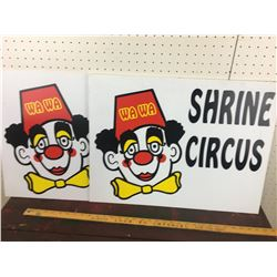 LOT OF 2 PLASTIC SIGNS (SHRINER CIRCUS)
