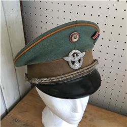 OFFICERS CAP W/BADGES & RIBBON BAR PIN (WWII NAZI GERMAN)
