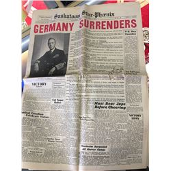 SASKATOON STAR-PHOENIX NEWSPAPER *WWII GERMANY SURRENDERS* (MAY 7, 1945) *32 PGS*