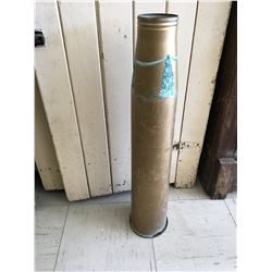 """LARGE BRASS SHELL CASING (26"""" TALL 1962) * HAS BEEN PAINTED *"""