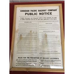 "1956 CANADIAN PACIFIC RAILWAY PUBLIC NOTICE PAPER (25"" X 19"")"