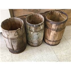 LOT OF 3 WOODEN 'NAIL' KEGS
