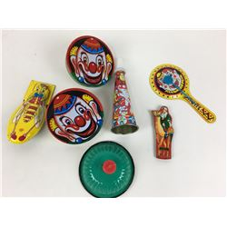 LOT OF TIN TOYS, NOISE MAKERS, WHISTLE