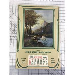 "ADVERTISING CALENDAR (1939 PRINCE ALBERT, SASK) *20"" X 13 1/2""*"