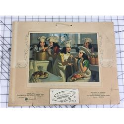 """ADVERTISING CALENDAR *1946 THE DIONE QUINTUPLETS NATIONAL LINEN) *15"""" X 12""""*"""