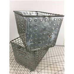 LOT OF 2 'VINTAGE' METAL LOCKER BASKETS