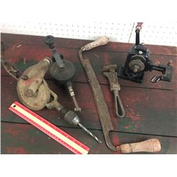 LOT OF OLD TOOLS *VALVE LAPPING TOOL, GRINDER *