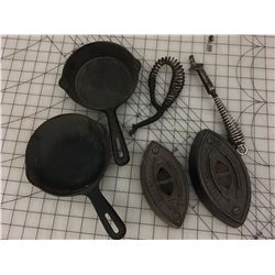 MISC LOT SAD IRONS CAST IRON FRYING PANS, STOVE HANDLES