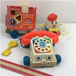 LOT OF 3 VINTAGE FISHER PRICE PULL TOYS * PLAYHOUSE, PHONE, HUMPTY *