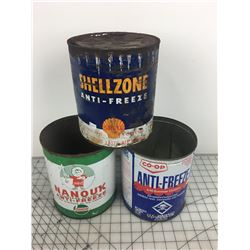LOT OF 3 ONE GALLON ANTIFREEZE CANS * SHELLZONE, COOP, NANOUK *