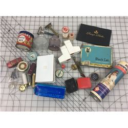 MISC LOT *1929 P.A. PIN, TINS, INK BOTTLES, NIBS *