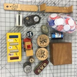 MISC LOT *POKER CHIPS, SHOE SIZER, TINS, INDIAN THERMOMETER *